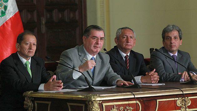 Conferencia de ministros tras sesión del gabinete en Palacio. (Andina)